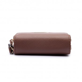 LP6680 - Miss Lulu Leather Look Double Zipped Coin Purse Brown