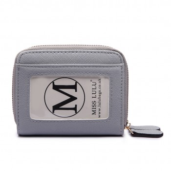 LP6680- PU Leather Double Zipped Coin Purse Grey