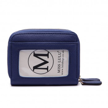 LP6680- PU Leather Double Zipped Coin Purse Navy