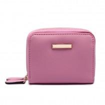 LP6680- PU Leather Double Zipped Coin Purse Pink
