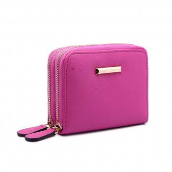 LP6680- PU Leather Double Zipped Coin Purse Plum