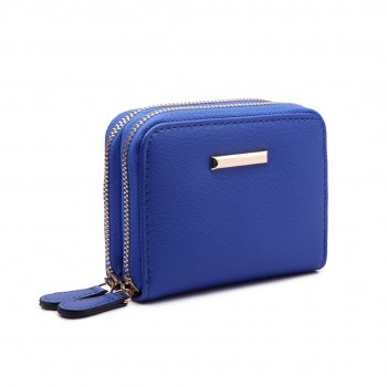 LP6680 - Miss Lulu Leather Look Double Zipped Coin Purse Royal Blue
