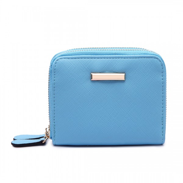 LP6680 - Miss Lulu Leather Look Double Zipped Coin Purse Sky  Blue