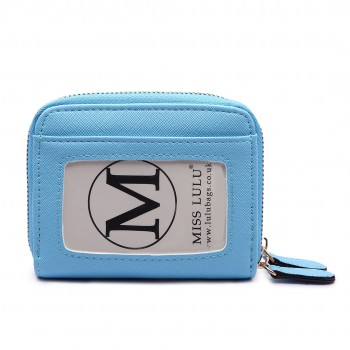 LP6680- PU Leather Double Zipped Coin Purse Sky  Blue