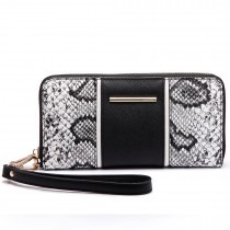 LP6681 - Miss Lulu Snake Print Panel Long Purse Black
