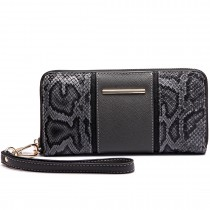 LP6681-Miss snake print Long Purse grey