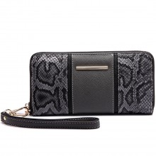 LP6681 - Miss Lulu Snake Print Panel Long Purse Grey