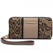 LP6681-Miss LuLu snake print Long Purse beige