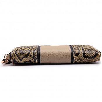 LP6681-Miss LuLu snake print Long Purse beige