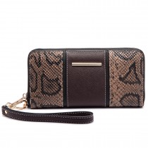 LP6681 - Miss Lulu Snake Print Panel Long Purse Coffee