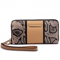 LP6681 - Miss Lulu Snake Print Panel Long Purse Beige