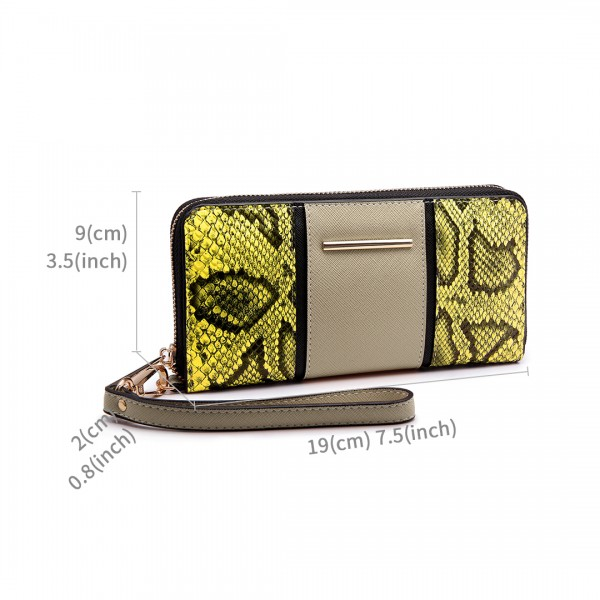 LP6681 - Miss Lulu Snake Print Panel Long Purse Khaki