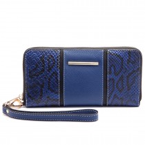 LP6681-Miss LuLu snake print Long Purse navy