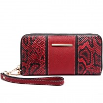 LP6681 - Miss Lulu Snake Print Panel Long Purse Red