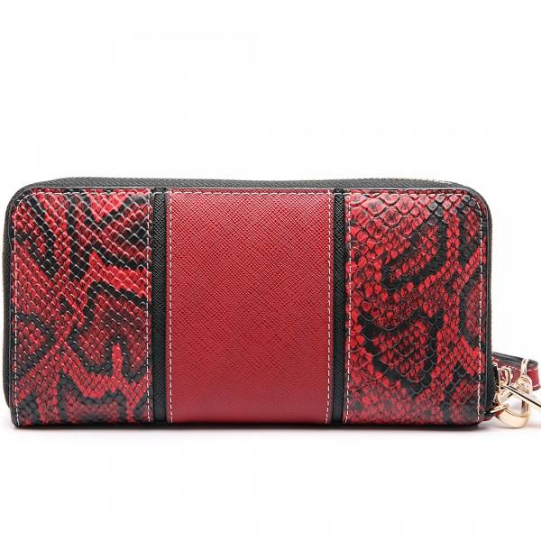 LP6681 - Miss Lulu Snake Print Panel Long Purse Red