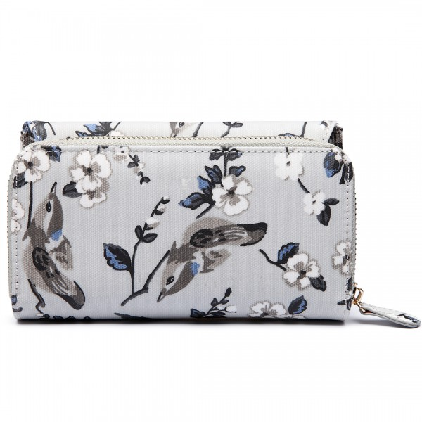LP6682-16J - Miss Lulu Small Oilcloth Purse Bird Print Grey