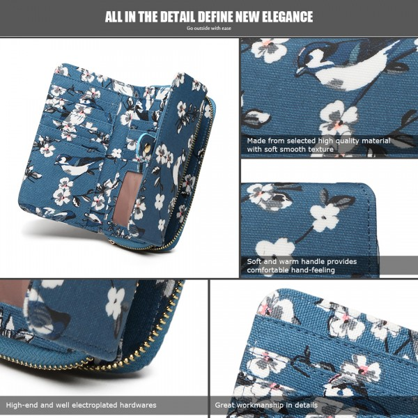 LP6682-16J - Miss Lulu Small Oilcloth Purse Bird Print Dark Blue