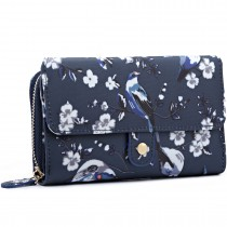 LP6682-16J - Miss Lulu Small Oilcloth Purse Bird Print Navy