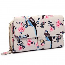 LP6682-16J - Miss Lulu Small Oilcloth Purse Bird Print Beige