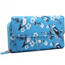 LP6682-16J - Miss Lulu Small Oilcloth Purse Bird Print Blue