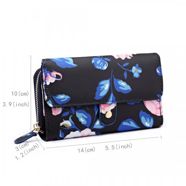 LP6682-17F - Miss Lulu Small Oilcloth Purse Floral Print Midnight Blue