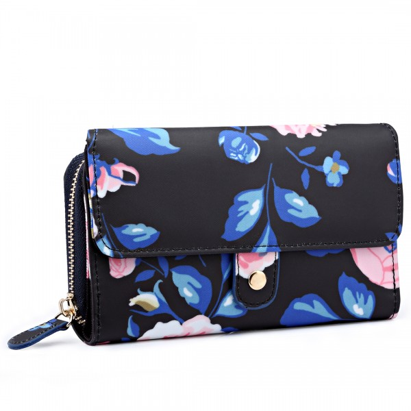 LP6682-17F - Miss Lulu Small Oilcloth Purse Floral Print Midnight Blue
