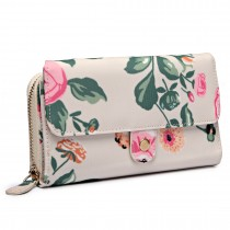 LP6682-17F - Miss Lulu Small Oilcloth Purse Floral Print Beige