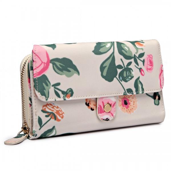 LP6682-17F - Miss Lulu Small Oilcloth Purse Floral Print Beige