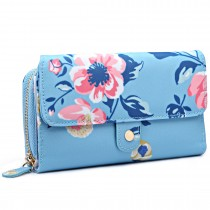 LP6682-17F - Miss Lulu Small Oilcloth Purse Floral Print Blue