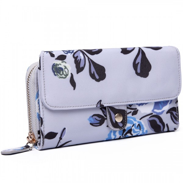 LP6682-17F - Miss Lulu Small Oilcloth Purse Floral Print Grey