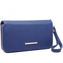 LP6683-Frauen PU-Leder-Handtasche Double Coin Reißverschluss Lange Brieftasche blau