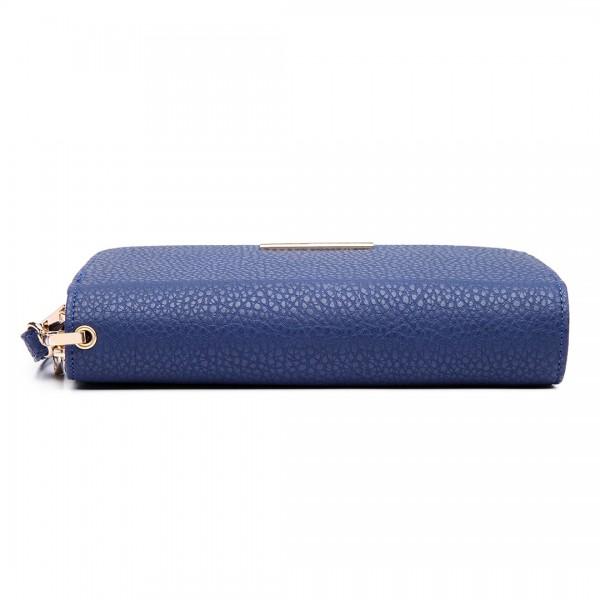 LP6683 - Miss Lulu Women Leather Look Double Zipped Long Purse Blue
