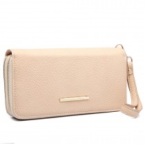 LP6683- Miss Lulu Women Faux Leather Double Zipped Purse Beige