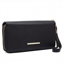 LP6683 - Miss Lulu Women Leather Look Double Zipped Long Purse Black