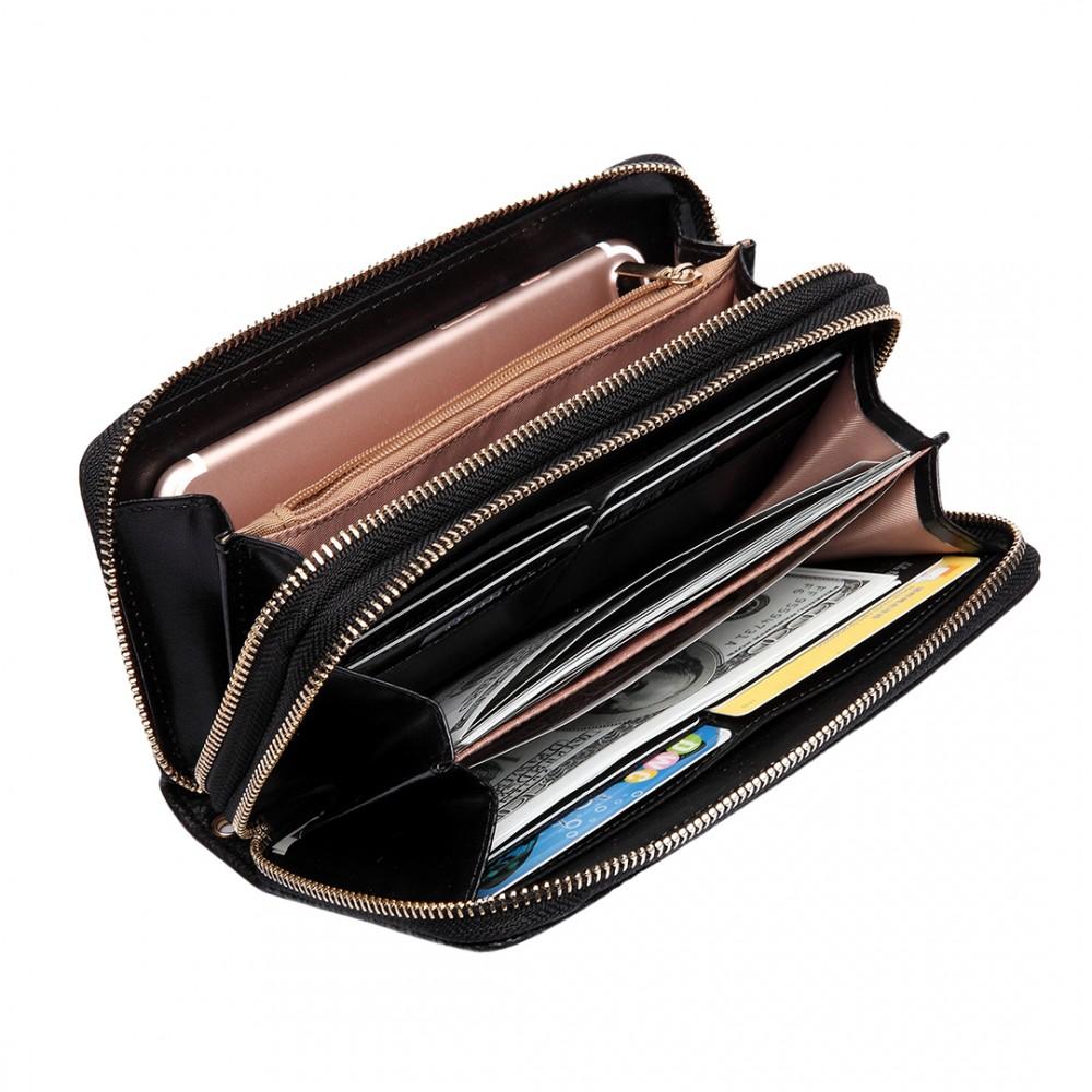 lp6683 frauen pu leder geldb rse mit rei verschluss doppel lange brieftasche schwarz. Black Bedroom Furniture Sets. Home Design Ideas