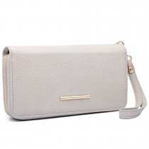 LP6683 - Miss Lulu Women Leather Look Double Zipped Long Purse Grey