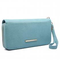 LP6683 - Miss Lulu Women Leather Look Double Zipped Long Purse Light Blue