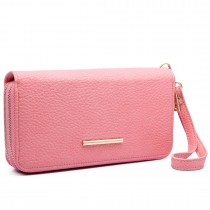 LP6683- Miss Lulu Women Faux Leather Double Zipped Purse pink