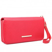 LP6683 - Miss Lulu Women Leather Look Double Zipped Long Purse Red