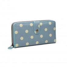 LP6801D2-Miss Lulu porte-monnaie à pois en toile bleu