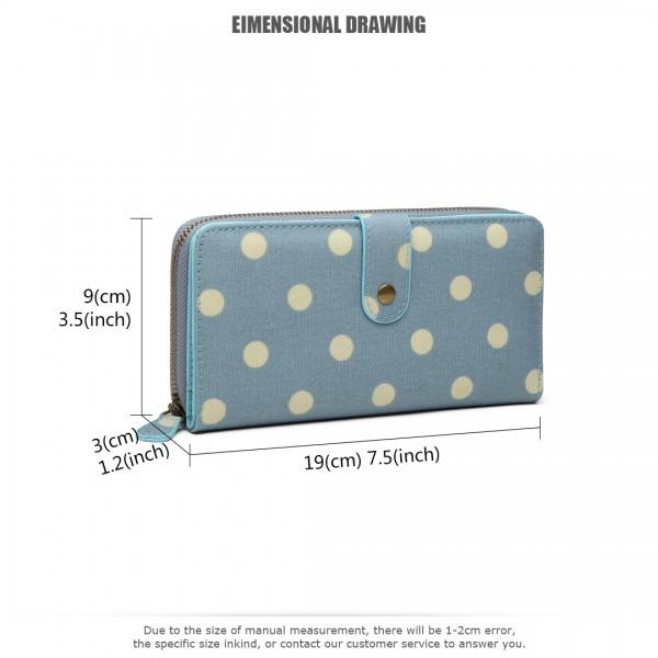 LP6801D2 - Miss Lulu Oilcloth Polka Dot Purse Blue
