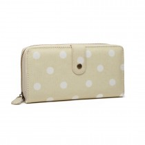 LP6801D2-Miss Lulu oilcloth polke dot purse Beige