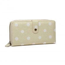 LP6801D2 - Miss Lulu Oilcloth Polka Dot Purse Beige