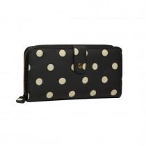 LP6801D2-Miss Lulu oilcloth polke dot purse Black
