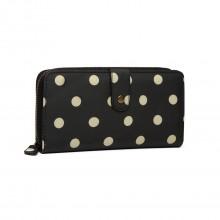 LP6801D2 - Miss Lulu Oilcloth Polka Dot Purse Black