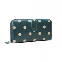 LP6801D2-1 -Miss Lulu oilcloth polke dot purse Dark Green