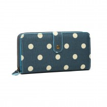 LP6801D2-Miss Lulu oilcloth polke dot purse Dark Green