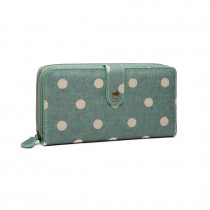LP6801D2-Miss Lulu oilcloth polke dot purse Green