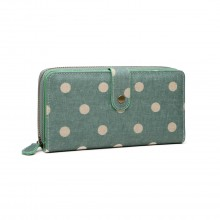 LP6801D2 - Miss Lulu Oilcloth Polka Dot Purse Green
