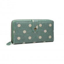 LP6801D2-Miss Lulu porte-monnaie à pois en toile vert